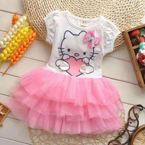 Autumn Toddler Infant Girl Baby Dress Cotton Mesh Bow Kids Child Princess