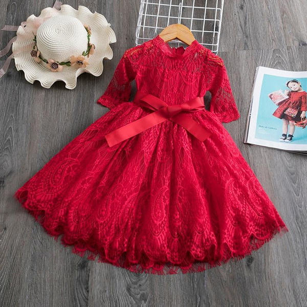 Red Kids Dresses For Girls Flower Lace Tulle Dress Wedding Little Girl Ceremony Party