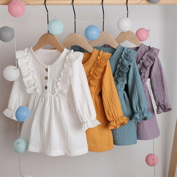 One to six year old Toddler Kids Baby Girl Autumn Dress Ruffles