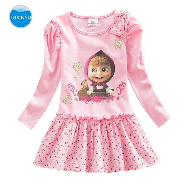 The Bear Cartoon Cotton Long Sleeve Lovely Dresses Children Girl One to seven years old