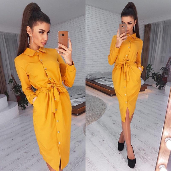 Women Vintage Front Button Sashes A-line Dress Long Sleeve Turn Down Collar Solid Elegant Dress