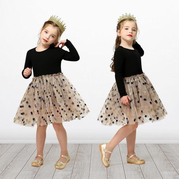 One to Eight Year Girls Dress Autumn Lace Sling Casual Dresses