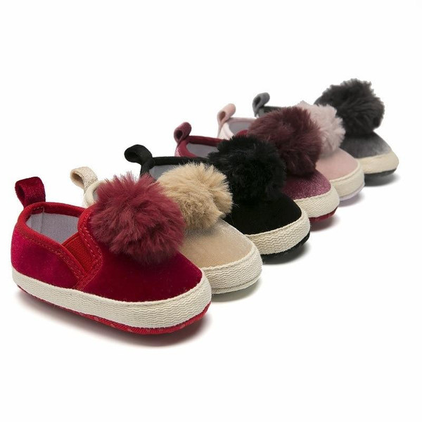 0-18M Toddler Baby Pompon Ball First Spring Cotton Moccasin Cute Crib Shoe Walkers Girl Shoes Soft Sole Newborn Anti-Slip Shoes on Sale Shoe Dept Shoe online Shoe - Joelinks store