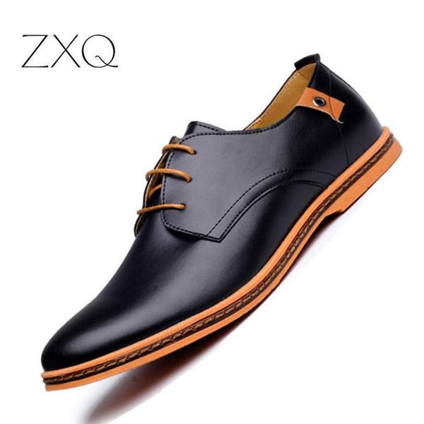 2018 Leather Casual Fashion Men Flats Round Toe Comfortable Office Men Shoes Men Dress Shoes Plus Size 38-48 - Joelinks store