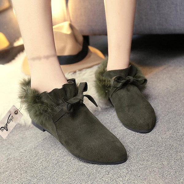 2018 free freight Women's boots snow boots woollen bows women's shoes new autumn winter suede  boots - Joelinks store