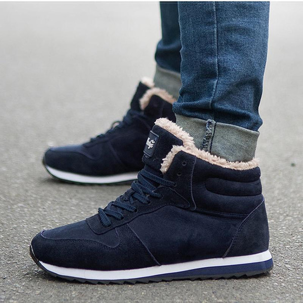 Winter Boots Men Ankle Boots Warm Winter Shoes Men Boots Tennis Sneakers Male Shoes Solid Lace Up Lovers Casual Safety Shoes Men - Joelinks store