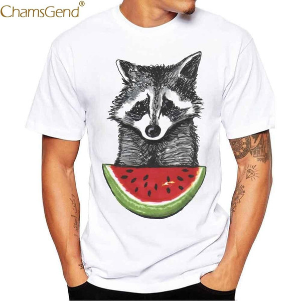 Chamsgend  Raccoon Eating Watermelon Print Shirt Men Boy Summer Short Sleeve T-Shirt 80208 - Joelinks store