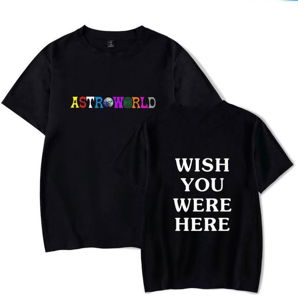 2018 New Fashion Hip Hop T Shirt Men Women Travis Scotts ASTROWORLD Harajuku T-Shirts WISH YOU WERE HERE Letter Print Tees Tops - Joelinks store