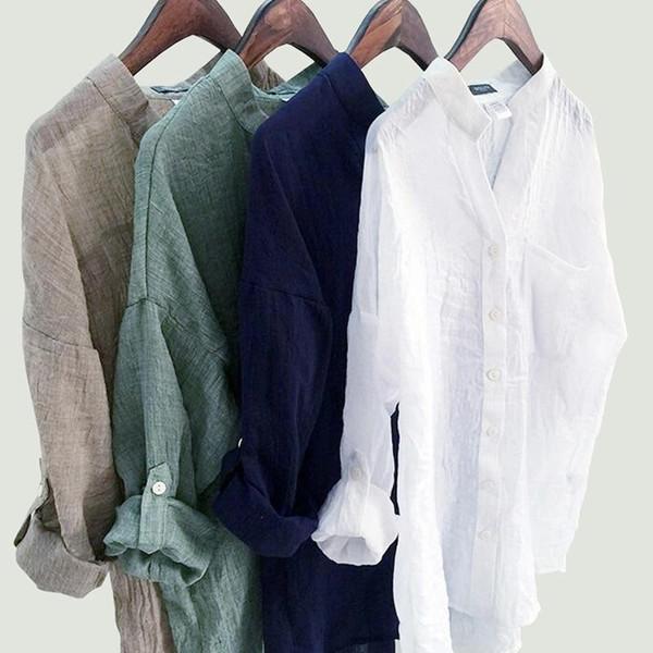 DERUILADY Casual Loose Womens Tops And Blouses Harajuku Plus Size Blouse Shirt Fashion Cotton Linen V Neck Women Shirts Blusas - Joelinks store