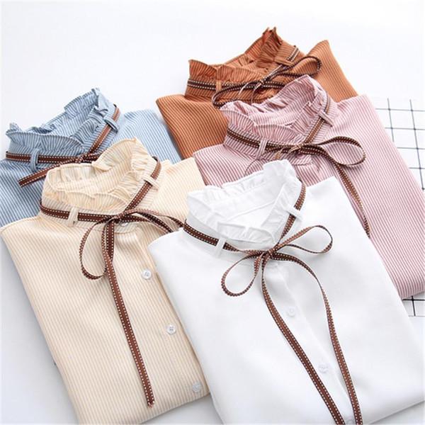 2019 New Female Chiffon Blouse Shirt Lady Solid Bow Shirt Loose Stand collar Women Long-Sleeved Shirts Dropshiping - Joelinks store