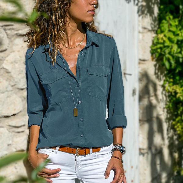 2019 Women Blouses Tops Long Sleeve Pocket Single-Breasted Ladies Office Work Shirts Black Blusas Mujer Camisa - Joelinks store