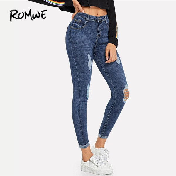 ROMWE Navy Ripped Skinny Denim Jeans Summer Women Casual Button Fly High Waist New Style Trousers Female Plain Fashion Pants - Joelinks store