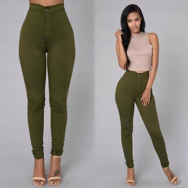 2019 Solid Wash Skinny Jeans Woman High Waist NEW Denim Pants Push Up Trousers  warm Pencil Pants Female - Joelinks store
