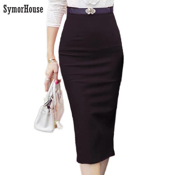 2019 Pencil Skirt Women Bodycon Fashion High waist elastic Office  Skirt Red Black Slit Women's Midi Skirts - Joelinks store