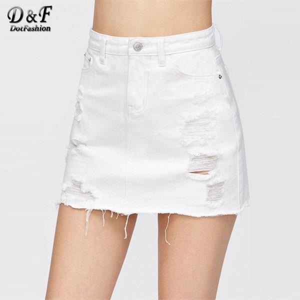 Dotfashion Distressed Fray Hem Denim Skirt 2019 New White Ripped Casual Women Bottom Mid Waist Sheath Short Plain Skirt - Joelinks store