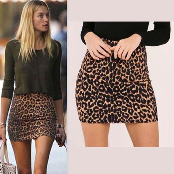 New Skirt Women's Leopard Printed Skirt High Waist Sexy Pencil Bodycon Hip Mini Skirt Fits All Seasons  Female faldas jupe femme - Joelinks store