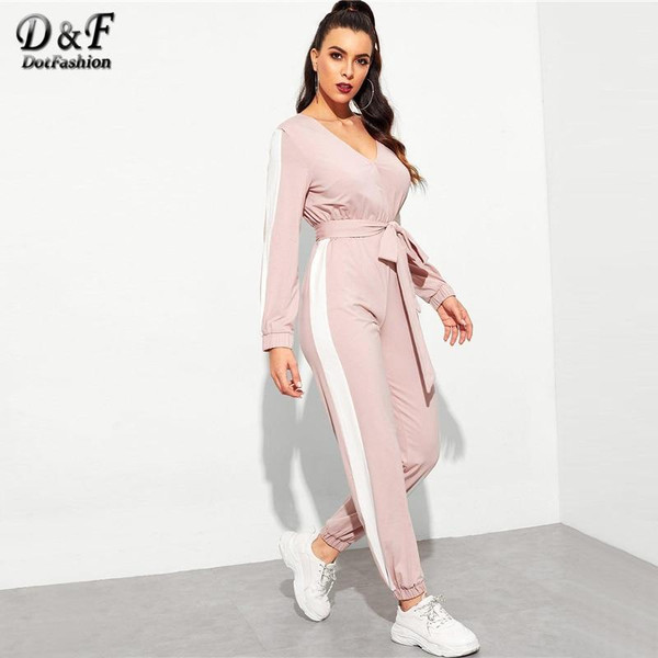 Dotfashion Hot Pink Contrast Side Seam Wrap Jumpsuits With Belt For Women 2019 Autumn Clothing Deep V Neck Long Sleeve Jumpsuit - Joelinks store