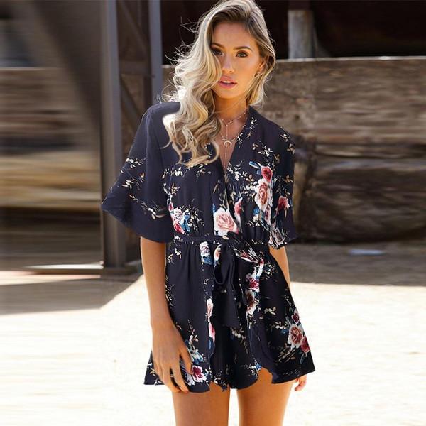 Brand Bodysuit Overall Women Tops Print Casual Combinaison Femme Jumpsuit Playsuit Body Feminino Boho Clothes Summer Romper - Joelinks store