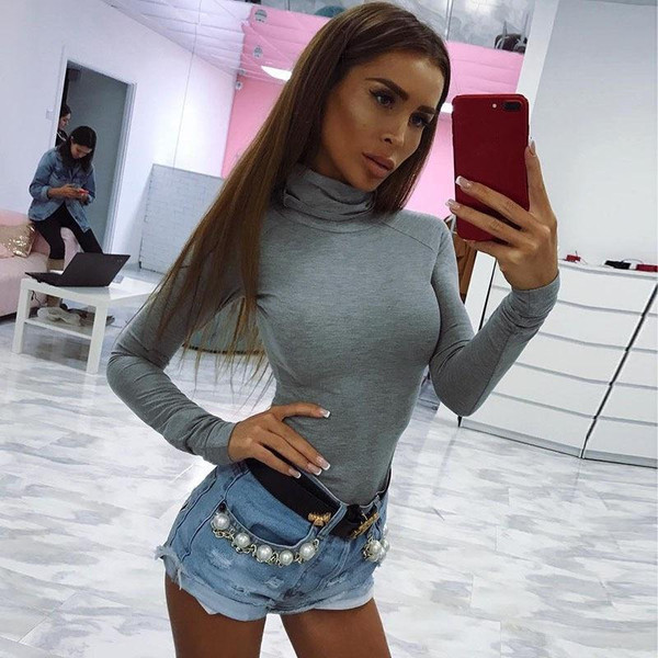 2019 Autumn Winter Women Cotton Long Sleeve Skinny Bodysuit Solid High Neck Sexy Body Suit Bodycon PlaySuit Rompers - Joelinks store