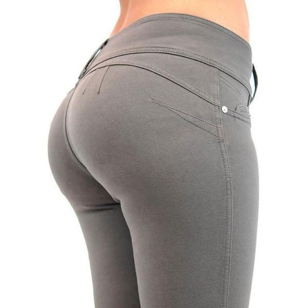 Fashion Spring Pencil Pants Women 2019 Mid Waist Button Elastic Trousers Skinny Solid Zipper Women Pants Slim Gray Black Blue - Joelinks store