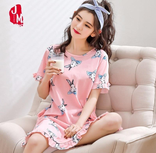 2019 New Cotton Nightgown Women Sweet Girl Lounge Cute Nightdress Sleepwear Summer Home Dress Casual Nightwear Sleepshirts Shirt - Joelinks store
