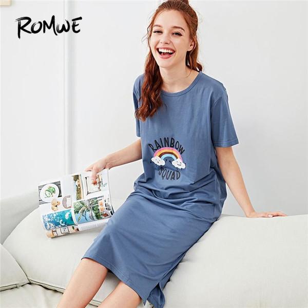 ROMWE Rainbow Letter Print Night Dresses Blue Cartoon Women 2018 Summer Nightwear Casual Round Neck Short Sleeve Sleepwear - Joelinks store