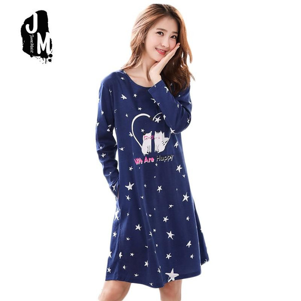 Woman Cotton Nightgowns Cute Nightdress Sleepwear Long Sleeve Spring Autumn Casual Nightwear Stripe Sleepshirts Shirts XXXL - Joelinks store
