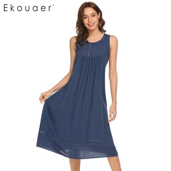 Ekouaer Women Elegant Nightgown Cotton Victorian Sleeveless Nightdress Loose Crochet Sleepwear Female Nightwear Home Clothing - Joelinks store