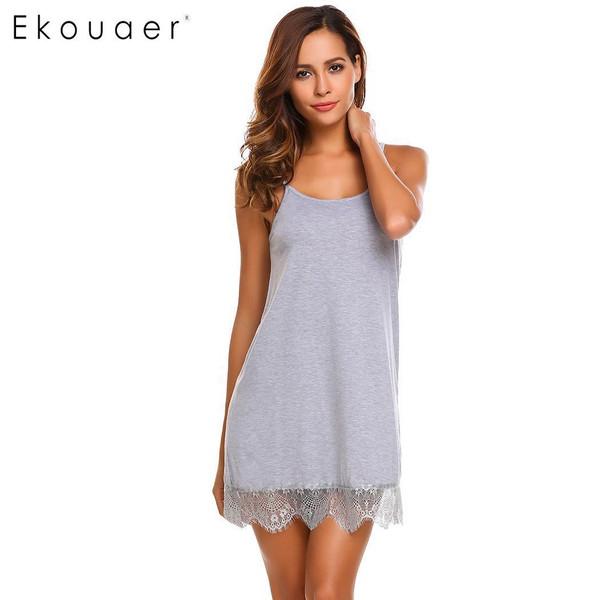 Ekouaer Sexy Nightgown Lingerie Sleepwear Babydoll Nightdress Women Lace Night Dress Full Slips Chemise Sleepshirts Nightwear - Joelinks store