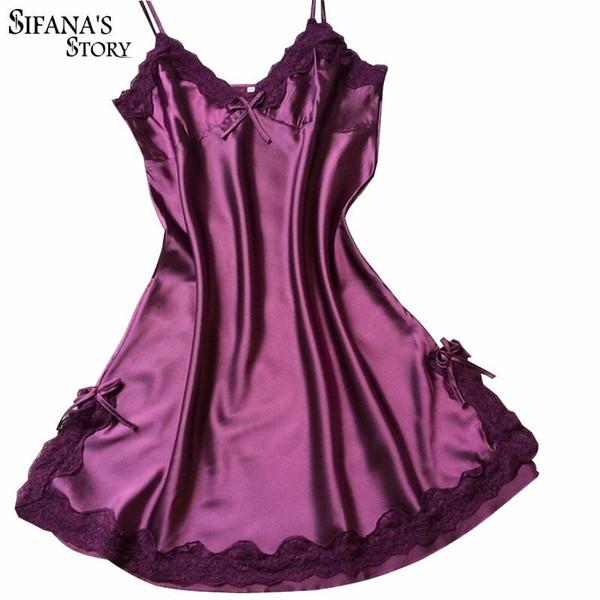 Ladies Sexy Silk Sleepwear Satin Nightgown V-neck Nightdress Slip Nighties Summer Night Dress Lace Night Gown Lingerie For Women - Joelinks store
