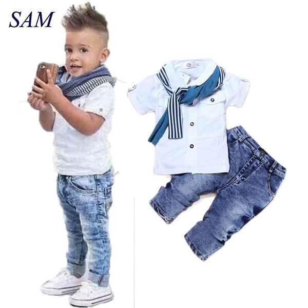 Baby Boy Clothes Casual T-Shirt+Scarf+Jeans 3pc Baby Clothing Set Summer Child Kids Costume For Boys 2017 Toddler Boys Clothes - Joelinks store