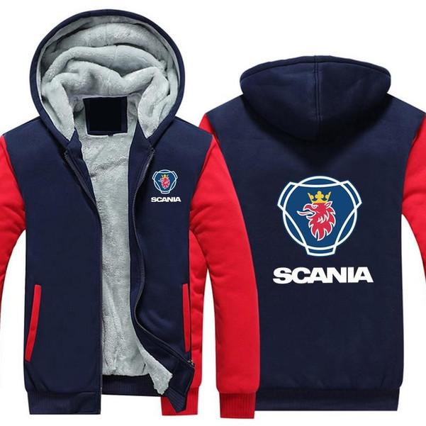 High Quality SCANIA Men Hoodies Jacket Winter Coat Men Casual Wool Liner Fleece Saab Scania Sweatshirts Zipper Hoody - Joelinks store