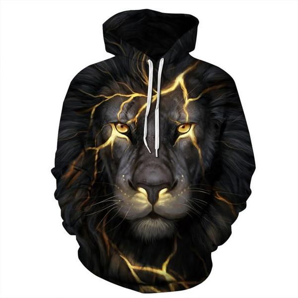 Autumn Winter Fashion Lion Ancient Digital Printing Men/Women Hooded Hoodies Cap Windbreaker Jacket 3d Sweatshirts - Joelinks store