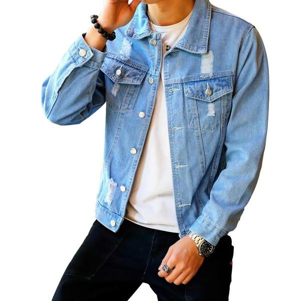 Men's Denim Jacket Hip Hop Retro Denim Jacket Street Casual Pilot Harajuku Fashion Hole Slim Buttoned Sky Blue Men's Jacket - Joelinks store