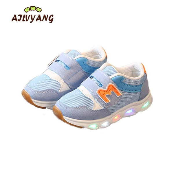 2018 Children Spring Glowing Sneaker Baby Boys Lighted Air Mesh Breathable Shoe Toddler Girls Lighting Sports Shoes Kids Trainer - Joelinks store