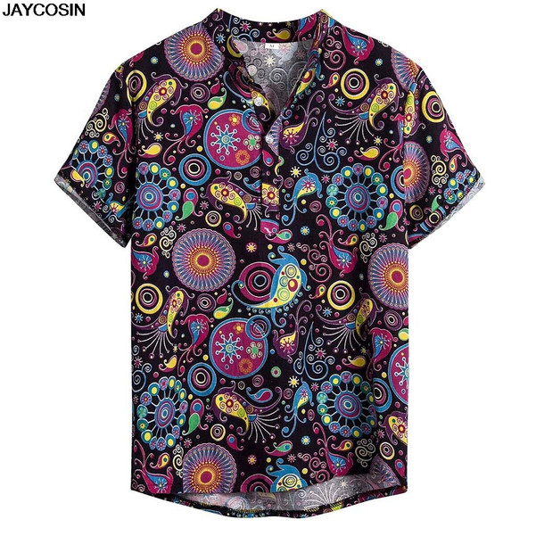 KLV Plus Size Shirts Men Cotton Linen Printed Short Sleeve Casual Turn-down Collar Shirts Tie Summer Tops New Arrival Cloth 9816