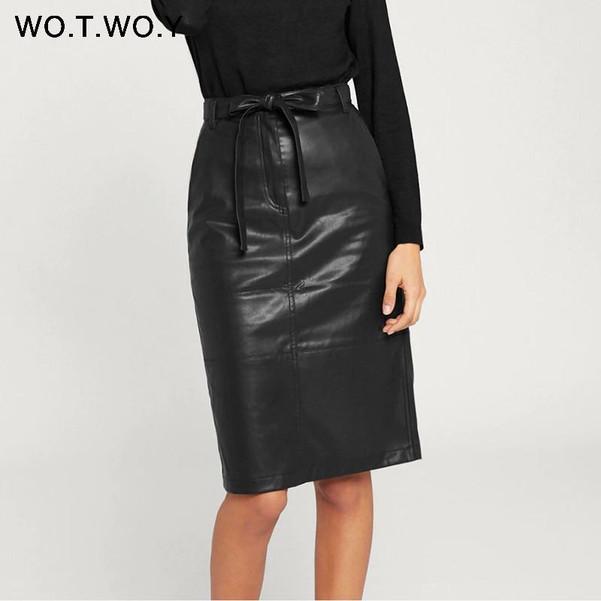 Autumn Office Lady Faux Leather Women Skirt 2020 Formal High Waist