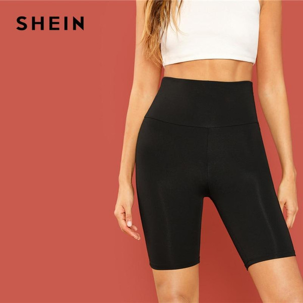 Black Casual Solid Crop Wide Waistband Cycling Short Leggings Summer