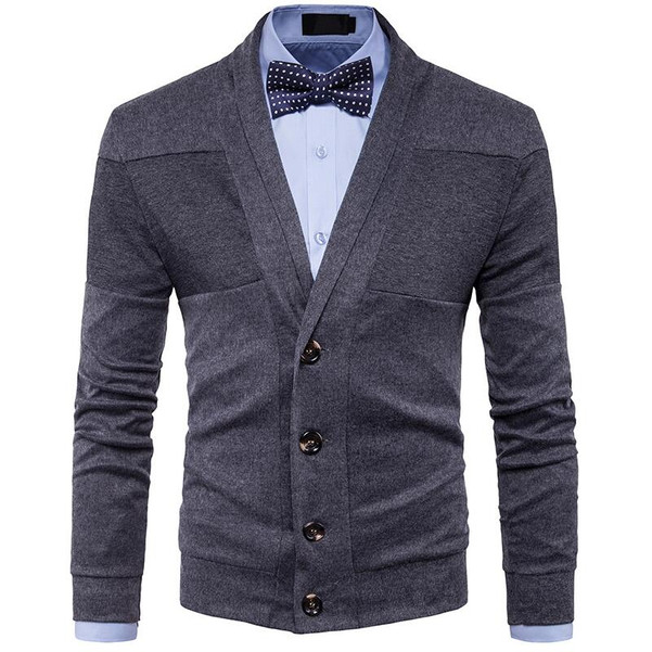 British Retro V-neck Cardigan Men Slim Sweater jacket