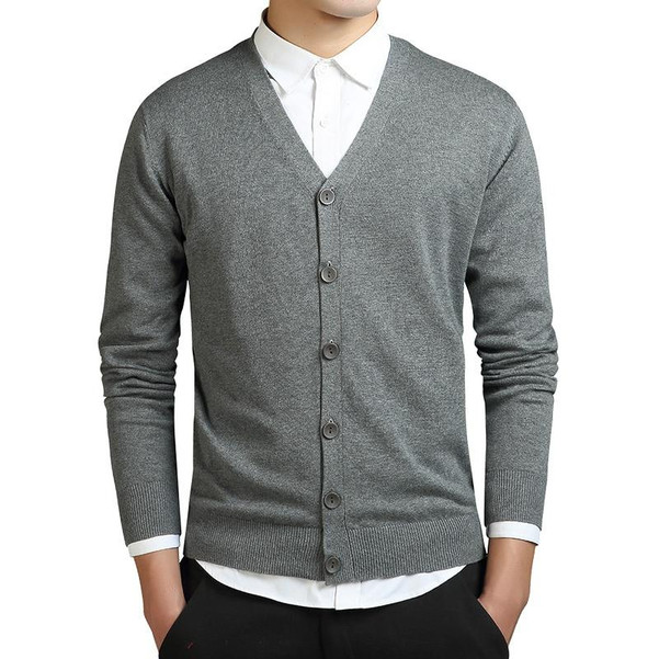 Grey Cardigans Men Cotton Sweater Long Sleeve Mens V-Neck Sweaters