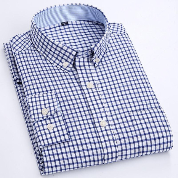 Men's Casual Plaid Checkered Long-Sleeve Oxford Shirt Single Patch Pocket Comfortable Standard