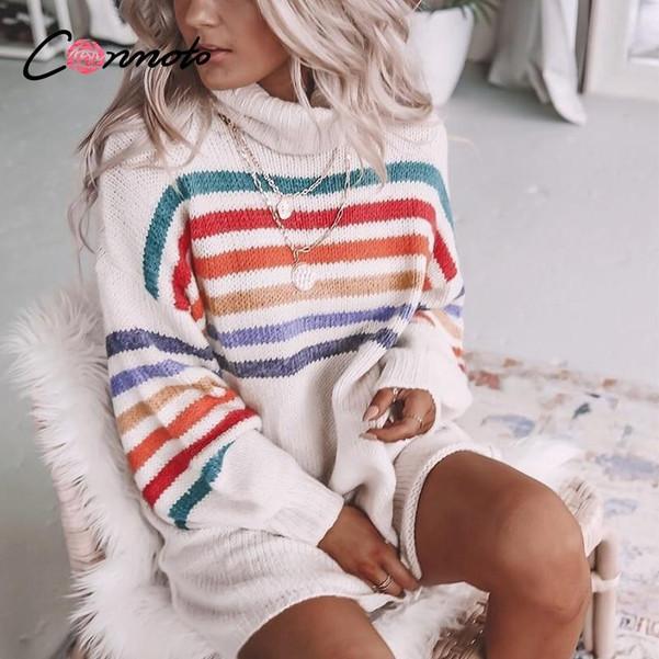 Conmoto knitted winter sweater dresses women rainbow turtle