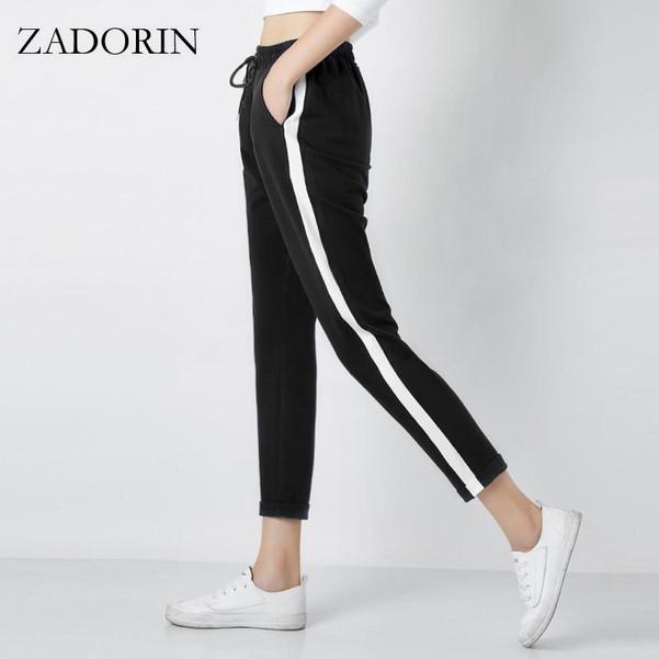 2019 Top Fashion Women Leather Striped Harem Pants Women Black Casual High Waist Pants Drawstring Loose Trousers Pantalon Femme - Joelinks store