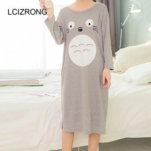 Autumn Long Sleeve Sleepwear Dress Women Cute Totoro Duck Print O-neck Knee-Length Dress Comfortable Cotton Cartoon Nightgown - Joelinks store