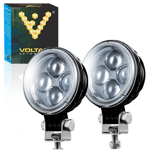 Voltage Automotive 3 Inch Round LED Fog Driving Light 12W Spot Light Pod With Fisheye Lens (2 Pack)