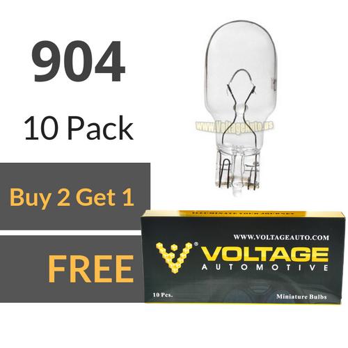 Voltage Automotive 904 Bulb For License Plate Light Side Marker Automotive Interior Light Dashboard Dome Light (Box of 10)
