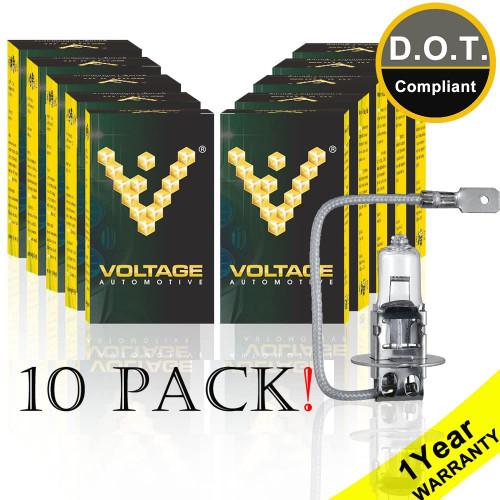Voltage Automotive H3 Standard Headlight Fog Light Bulb (10 Pack)