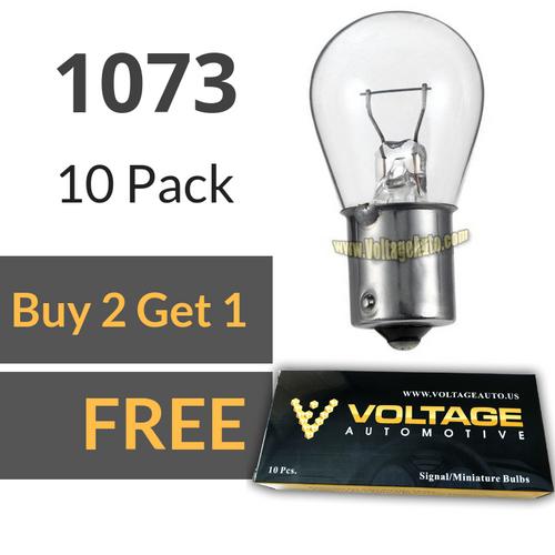 Voltage Automotive 1073 Brake Tail Light Bulb Turn Signal Bulb Side Marker Light Bulb (Box of 10)
