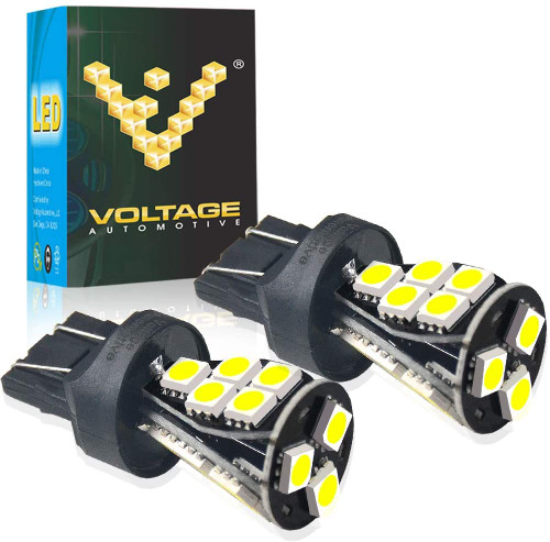 Voltage Automotive LED 7443 7444 T20 Brake Light Turn Signal Side Marker Tail Light Bulb 6000K Bright White (Pair)