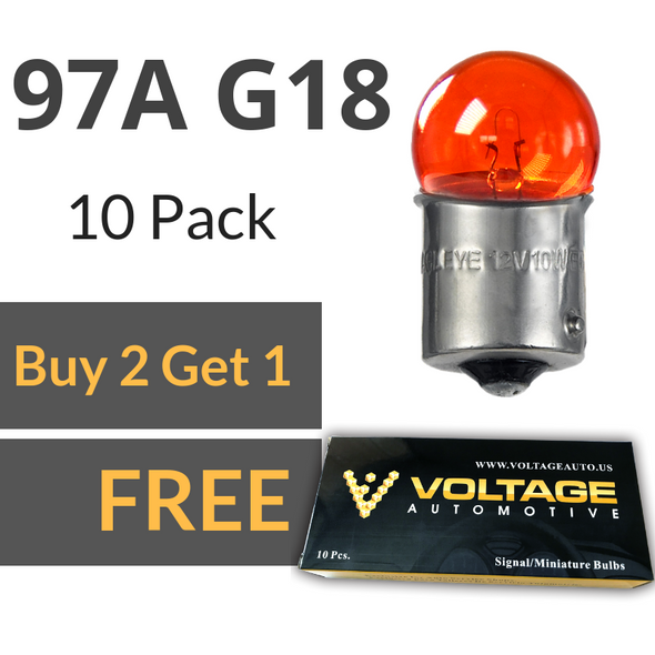 Voltage Automotive 97A 97 Amber G18 Brake Tail Light Bulb Turn Signal Bulb Side Marker Light Bulb (Box of 10)